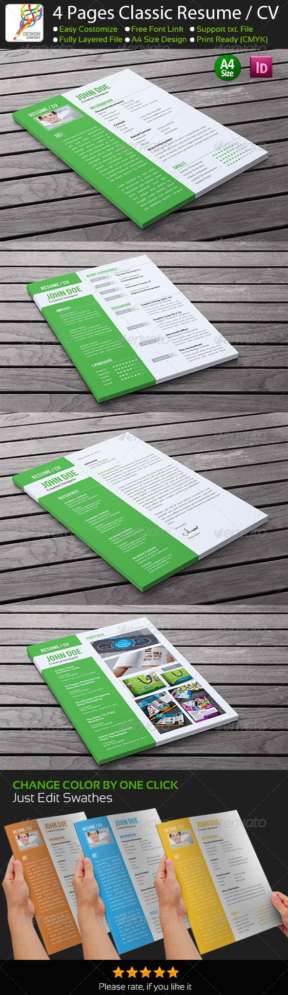 Buy 4 Pages Classic InDesign Resume by