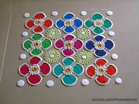 Super Easy and Quick Rangoli Designs around the Plate| Creative Rangoli by Shital Mahajan. - YouTube