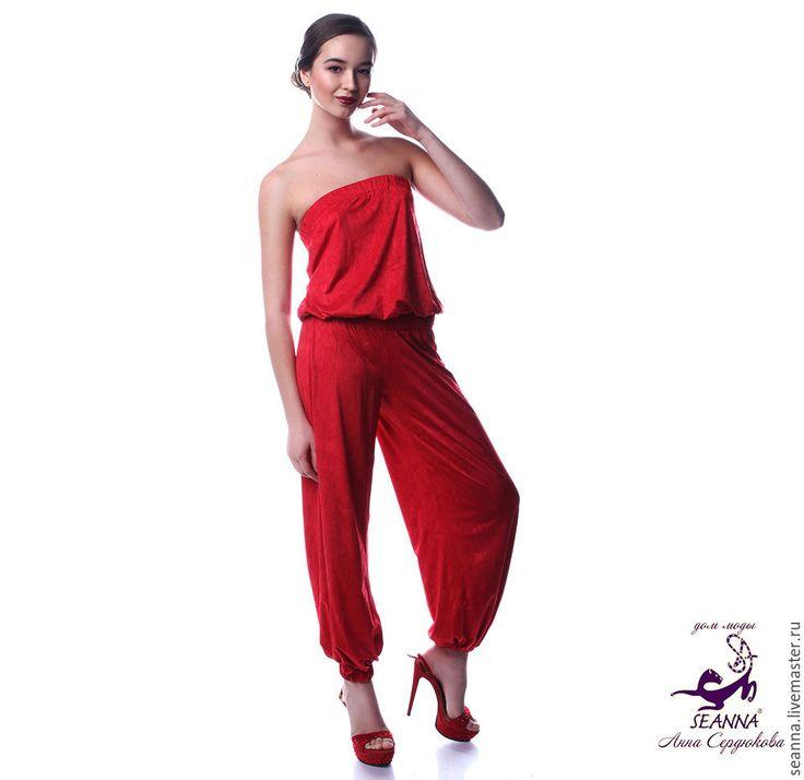Купить Комбинезон из трикотажа в восточном стиле удобный и красивый - ярко-красный, комбинезон, базовый гардероб