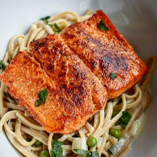 Cooking is Caring: Pan-Seared Salmon Linguine with Creamy Lemon Garli...