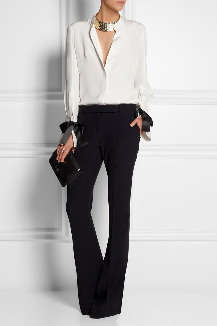 Alexander McQueen|Bow-embellished silk blouse