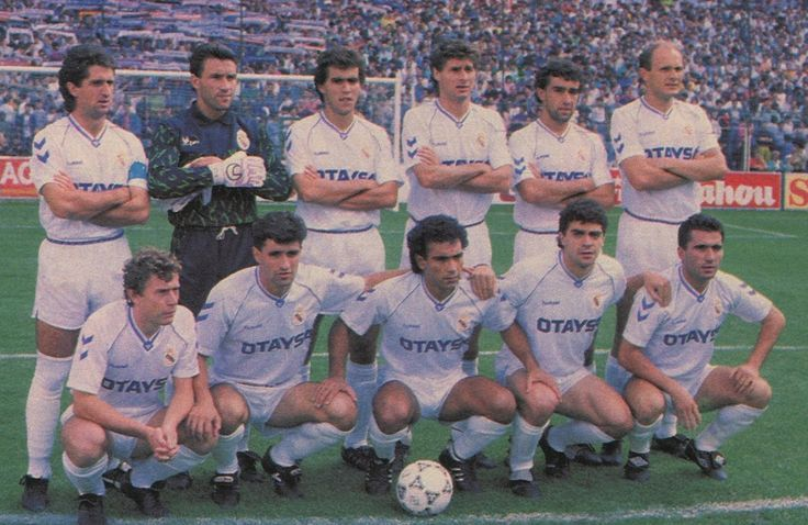 Real Madrid 1990/91,  Chendo, Buyo, Aragón, Tendillo, Villarroya, Spasic. Butragueño, Michel, Hugo Sánchez, Sanchis y Hagi.