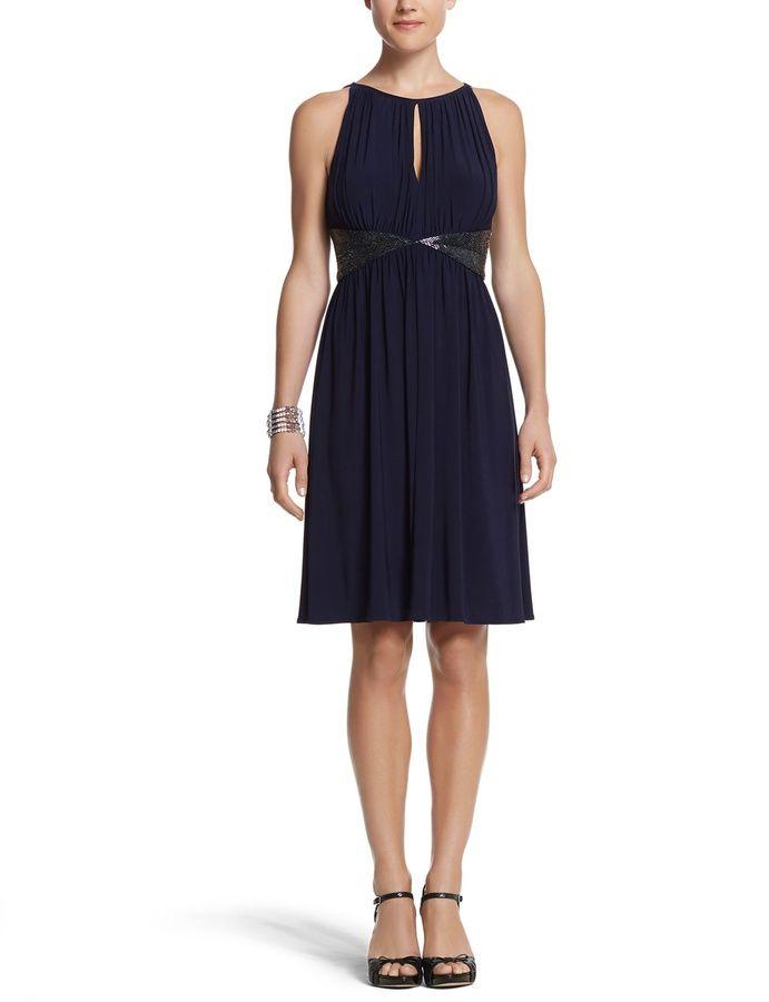 Sleeveless Beaded Dress - navy cocktail dress