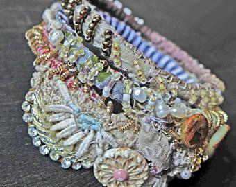 """Tessuto cucito bangle stack - braccialetto in tessuto bohemien impostato """"Mavourneen"""""""