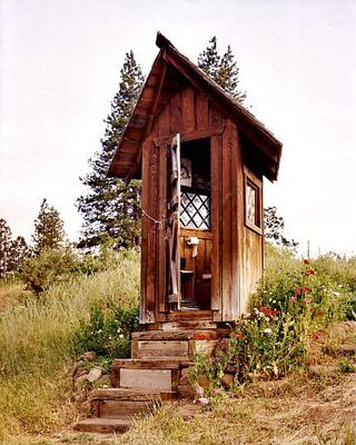outhouse at Ekone Ranch near Goldendale, Washington.