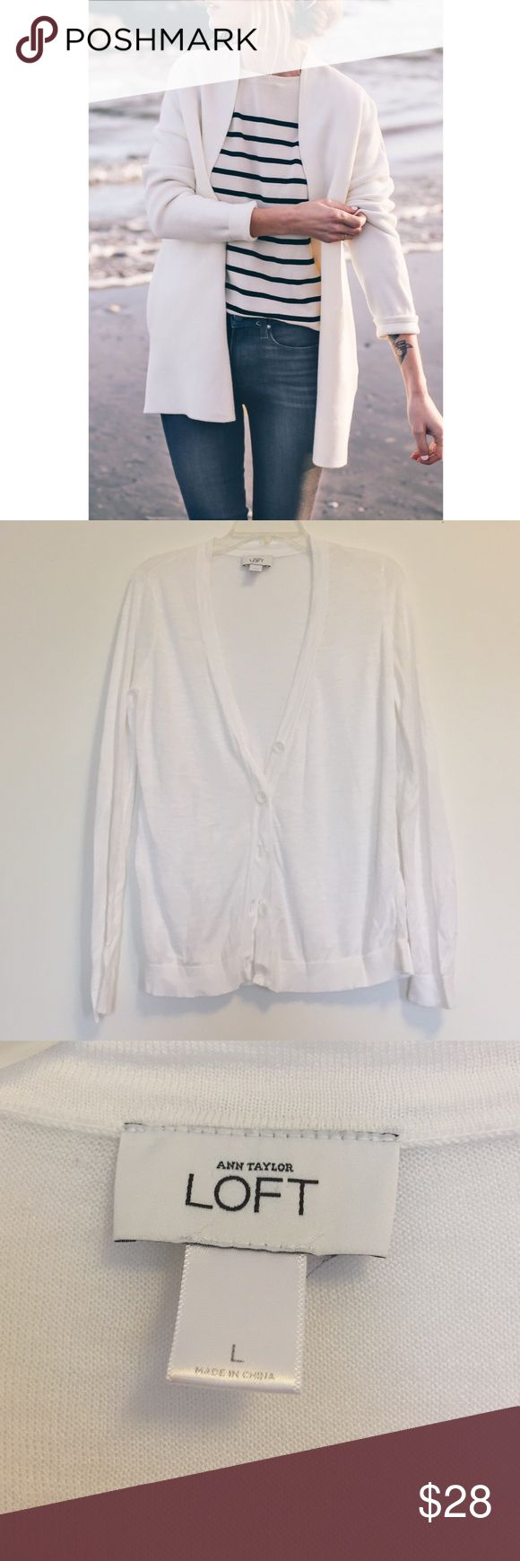 LOFT Long White Cardigan Loft Cardigan, white button down. Cover photo is for style suggestion only and is NOT the same sweater. Photo is not mine either. Sweater is a size large, super lightweight and perfect to throw over any outfit LOFT Sweaters Cardigans