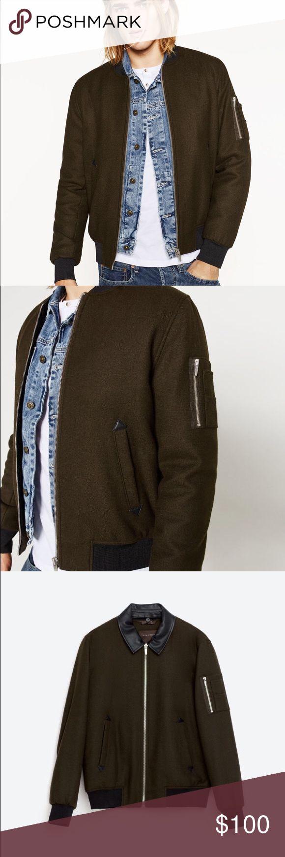 Zara Man Cloth Khaki Bomber Jacket Cloth Bomber Jacket, by Zara. Sold out in Zara. New, with tags! Zara Jackets & Coats Bomber & Varsity