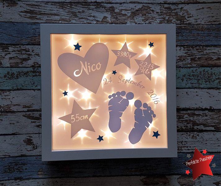 Weiteres - Bilderrahmen beleuchtet Geburt Fußabdrücke Lampe - ein Designerstück von PerfektePuschen bei DaWanda