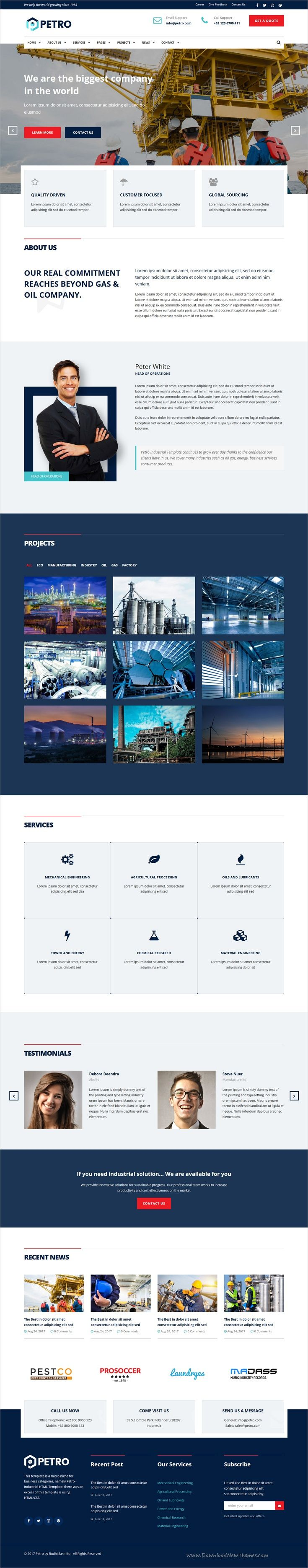 Petro is clean and modern design responsive #HTML template for #industrial, oil and gas, #manufacturing, mechanical, #power and energy, engineering companies website download now➩ https://themeforest.net/item/petro-industrial-html-template/19846808?ref=Datasata