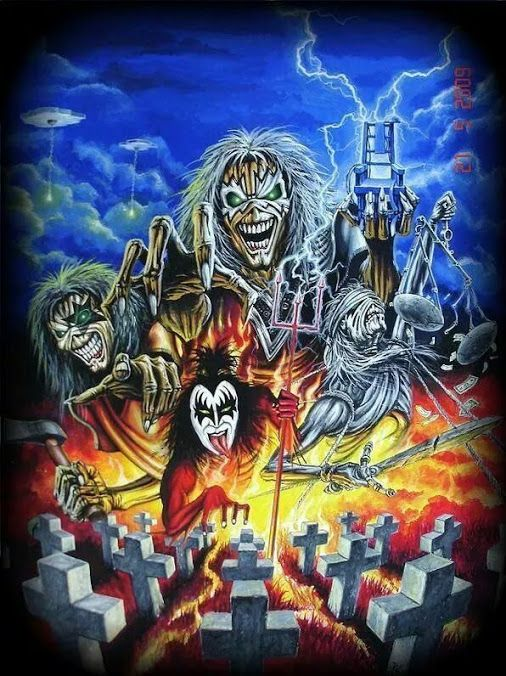 An awesome mash-up of Iron Maiden's Eddie, Metallica's first four album covers, and the band members of KISS. KISS are hard rock, not metal, but they did influence quite a few metal tropes back in a time when heavy metal was still largely an unbuilt trope.