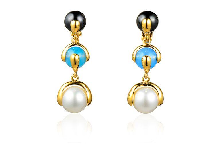 Marina B Cardan Blue Topaz, Amethyst & Rose Quartz Drop Earrings