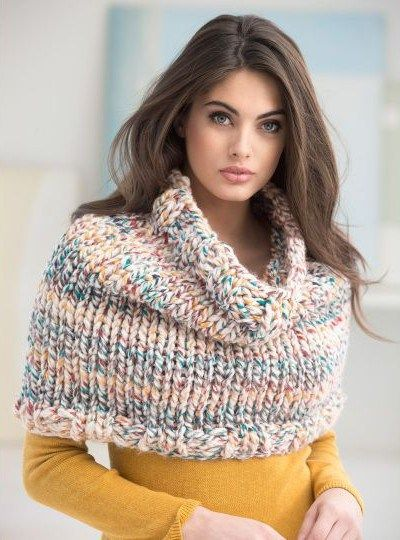Free knitting pattern for Dobbs Ferry Cowl can be worn as poncho or capelet