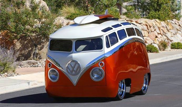 """Ron Berry is the creator of this cool '65 VW Microbus homage """"Surf Seeker"""" (license plate is """"Coolish"""") This."""