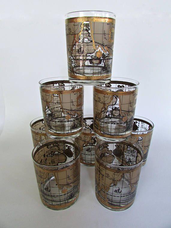 "Cera ""The World"" Glasses, Set of 8 - 4"" Rocks Glass, Perfect for Top Shelf Bourbon, Mid Century Barware Staple"