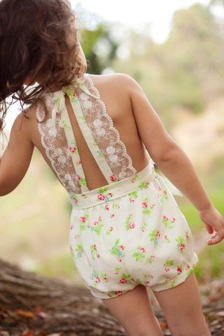 'Audrey' Playsuit in Floral White Baby.