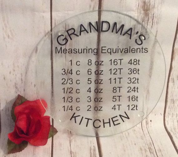Personalized Glass cutting board, measuring equivalents, kitchen shower gift, Customized cheese plate, spoon rest