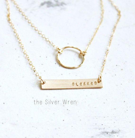 Gold Doppel-strängige anfängliche Halskette, zarte Layered Collier-Set zwei, Gold oder Sterlingsilber Übereinanderlegen Halskette, Halskette personalisiert