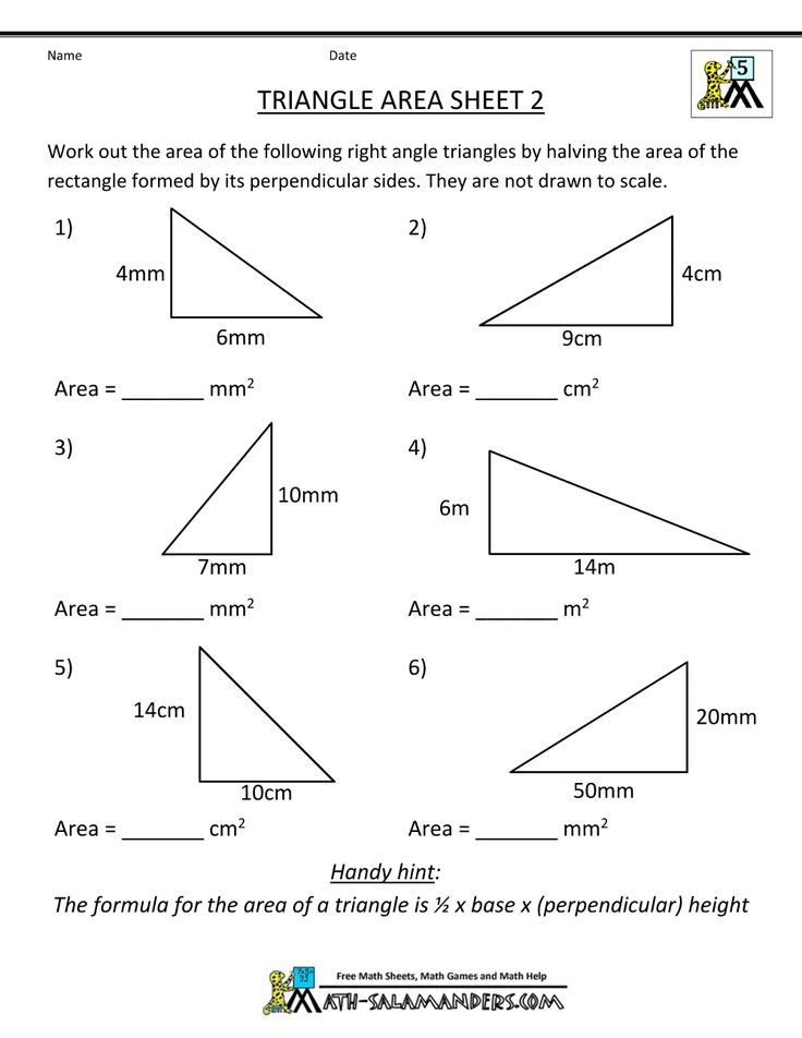 area of a triangle worksheets 7th grade | Triangle Area Sheet 2 Sheet 2 Answers