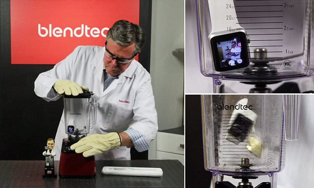 Watch as an Apple Watch is put in an industrial blender