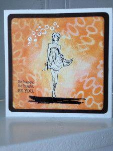 Flirty girl: op standaard papier, achtergrond airbrush Copic, formaat circa 13x13