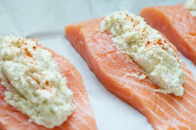 Crab Stuffed Salmon -I would probably use olive oil instead of mayo or greek yogurt