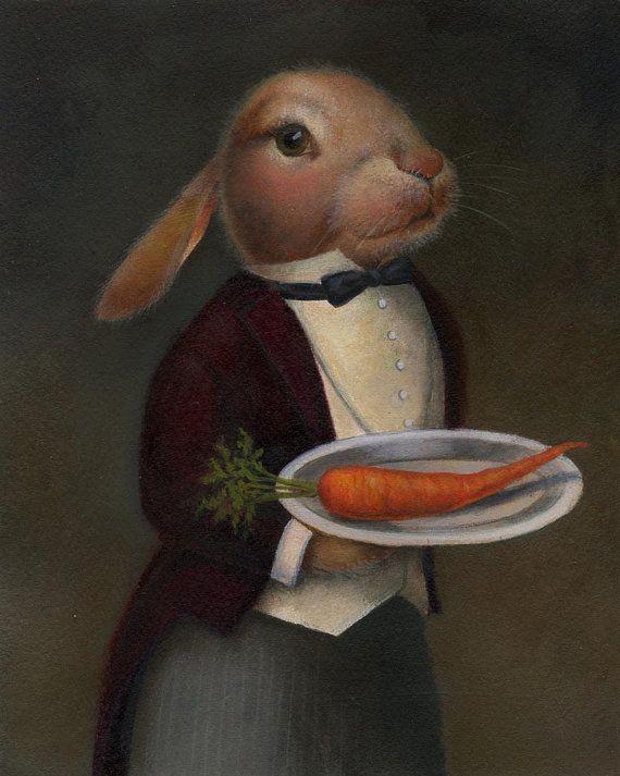 La ferme lapin Portrait Print Couple-lapin par CuriousPortraits