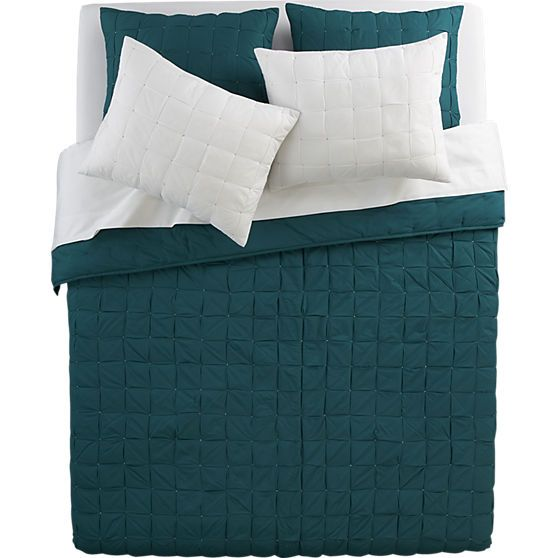 set of 2 standard mahalo blue-green shams in bed linens | CB2