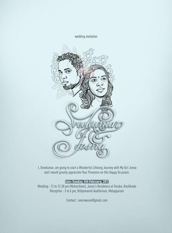 weding invitation by seerow com via behance malayalam posters kerala etc in 2018 pinterest wedding invitations wedding and invitations