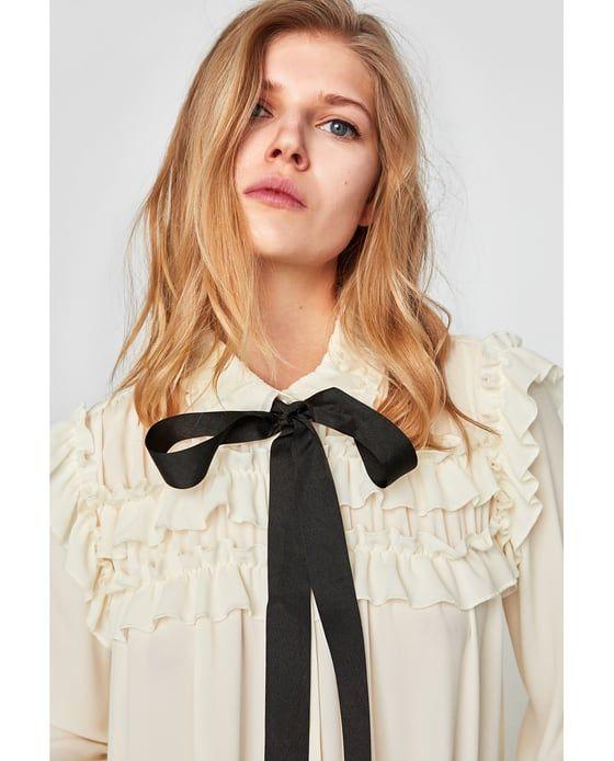 Image 6 de BLOUSE À VOLANTS ET LACET EN CONTRASTE de Zara
