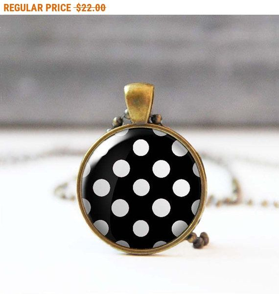 SALE Black polka dot necklace Glass dome necklace Round Christmas gift Gift for women Retro 50's necklace 5007-24 by StudioDbronze