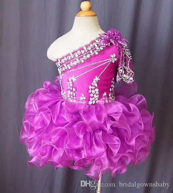Lovely One Shoulder Short Oranza Ball Gowns Fuchsia Girl'S Pageant Dresses With Beaded Rhinestone Birthday Party For Kids Big Events Pageant Dress For Little Girls Pageant Dress Girl From Bridalgownsbaby, $40.2| Dhgate.Com