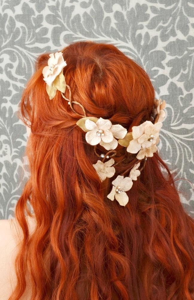 wedding flower crown, hair wreath, cream velvet floral head piece, bridal accessory - champagne kiss. $70.00, via Etsy.