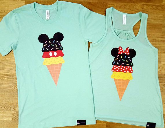Adorable Matching Mickey and Minnie Ice Cream Cone Disney Couples Shirts