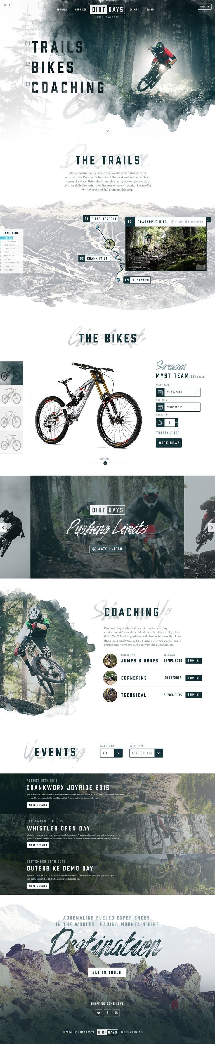 Trailer bike design The filter (or opacity) on the photos that make them appear washed out help the photos compliment each other on the site. The Analogous colour scheme helps make this website seem really intense which is really interesting.