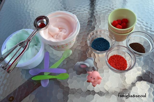 famiglia: {Should I Share My Ice Cream?} Sensory fun with shaving cream ice cream, colored rice, and coffee grounds.
