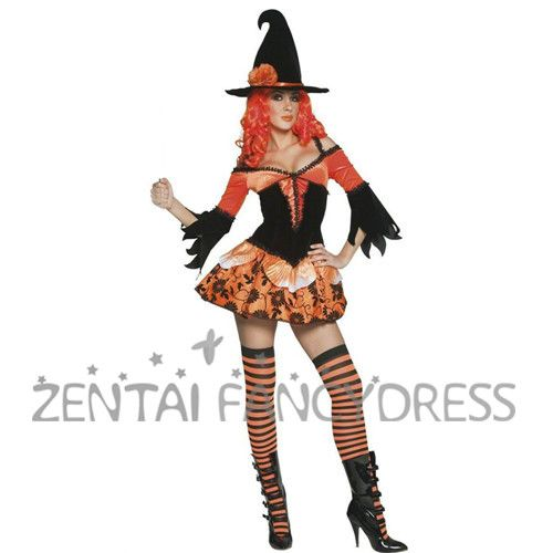 Halloween Womens Sexy Vampire Vixen Witch Devil Cosplay Costume Masquerade Party Dress with Hat