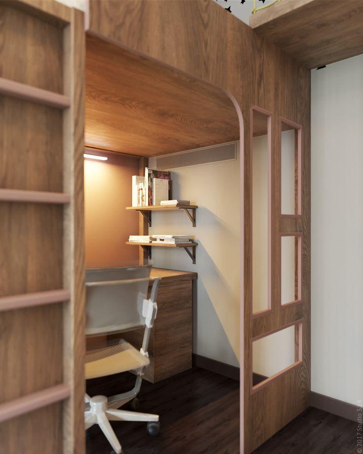 Уникальная конструкция выполнена по индивидуальному эскизу дизайнера студии. По ней мальчики могут перемещаться из комнаты в комнату, не спускаясь вниз.