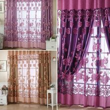 250*100cm Floral Tulle Voile Curtain Home Decoration Curtain Door Window Curtains for Living Room E#CH(China (Mainland))