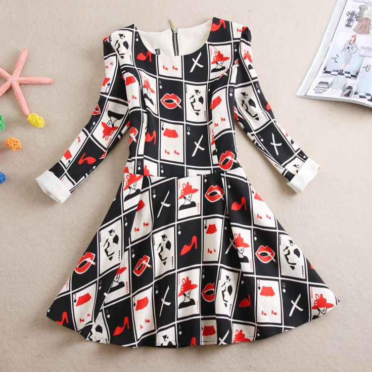 Mode Women Summer Poker Hoge hakken Dot Print Drie kwart mouw baljurk een stuk Dress.  #RouletteOnline