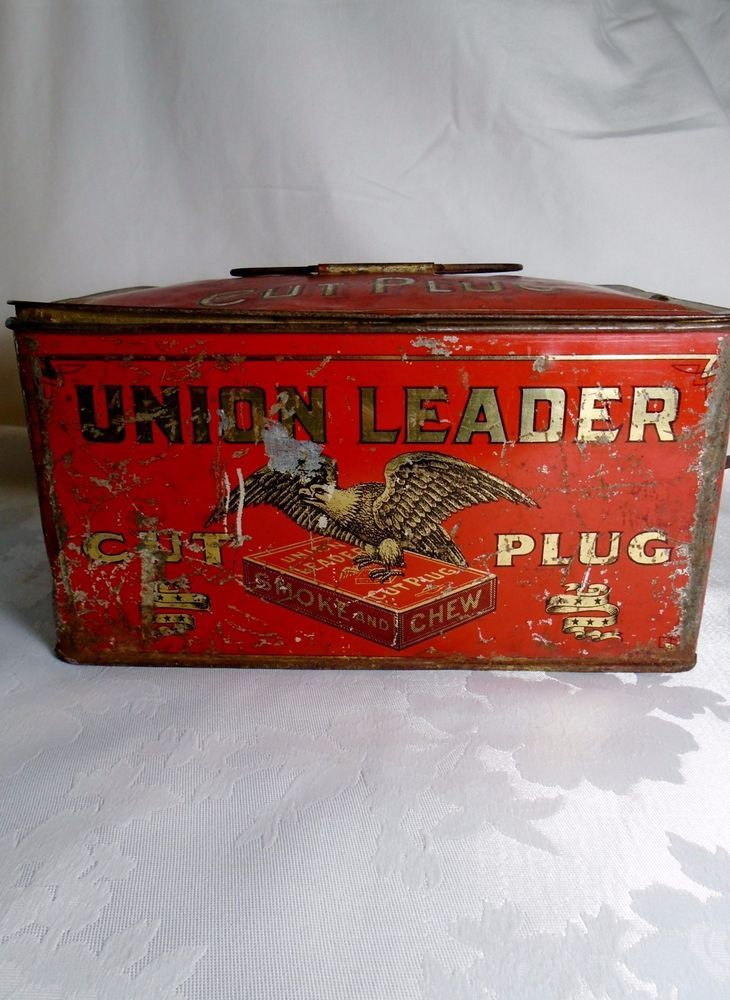 Old Antique Union Leader Cut Plug Tobacco Store Advertising Lunch Box Tin Eagle