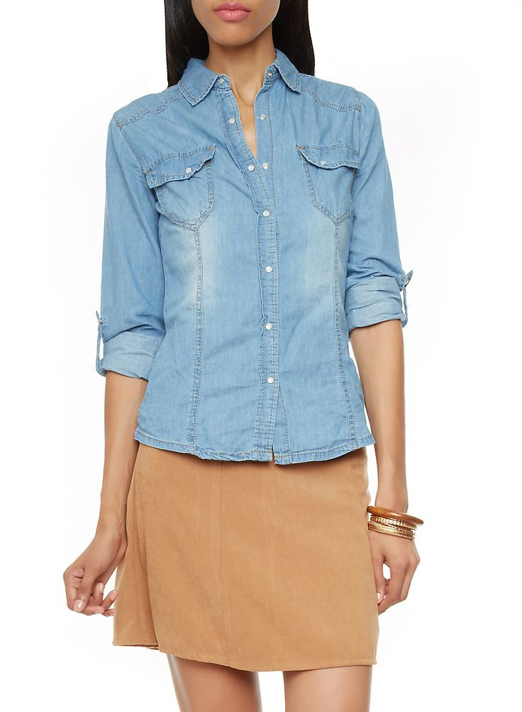 Rainbow Shops Chambray Denim Button Down Shirt with Convertible Sleeves $17.99