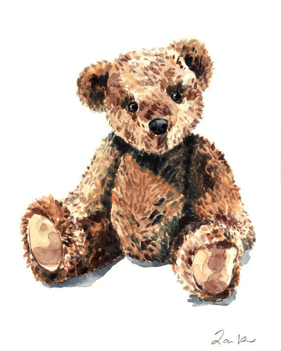 Print of original watercolor painting of a tan and brown teddy bear stuffed animal, a beloved part of childhood and a cherished belonging for any kid. This teddy bear has classic looks, so it will look great no matter how long it hangs in your childs room! Inspired by Steiff, FAO