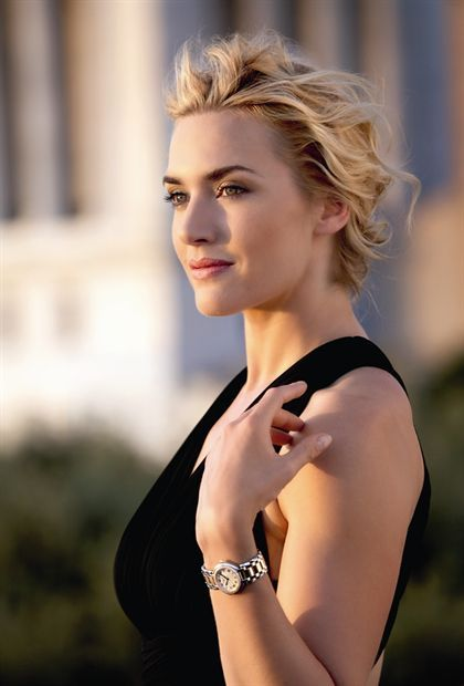 Kate Winslet. Looking better than she did stuck on the front of a doomed liner.