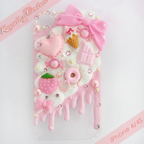 Pink Whipped Cream & Frosting iPhone 4/4S Decoden Case | $30.00    SHOP: www.etsy.com/shop/kawaiixcoutureHandmade decoden phone cases, jewelry, & accessories ♡