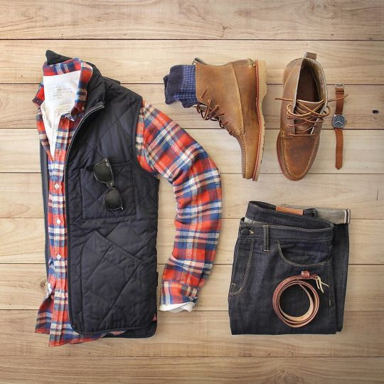 Love the vest and red shirt for contrast.