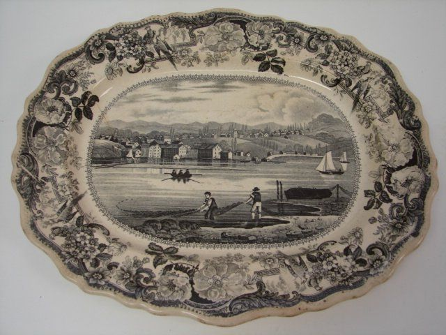 45 Ironstone Black Transfer Ware Hudson Ny Platter On In 2018 Grey Transferware Pinterest White Cottage And Porcelain