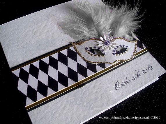 Harlequin invitation with a mask.