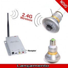 Lâmpada Micro Câmera Wireless 2.4G + Receptor Áudio e Vídeo
