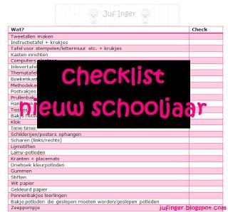 Via Juf Inger: Checklist start schooljaar