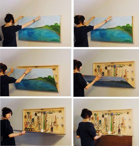 Love this a DIY Hidden Jewelry Hanger wall art